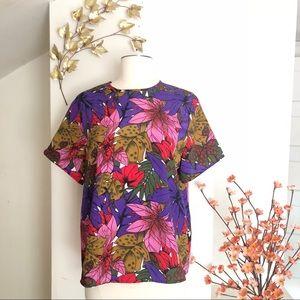 Vintage | tropical floral blouse shirt sleeve m